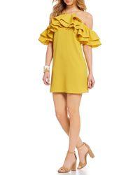 Sugarlips - Ruffle Cold Shoulder Shift Dress - Lyst