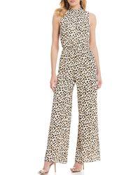 a87d7ac6ffe Sugarlips - Leopard Print Hi-neck Sleeveless Wide Leg Jumpsuit - Lyst