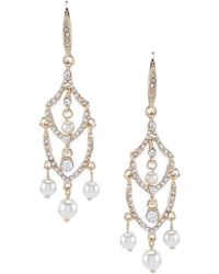 Anne Klein - Pearl Crystal Chandelier Earrings - Lyst