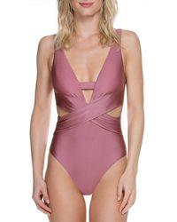 Becca - Ballerina Wrap Plunge One-piece Swimsuit - Lyst