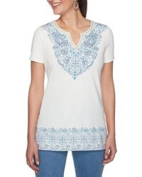 Ruby Rd. - Petite Size Embellished Notch V-neck Filigree Placement Print Knit Top - Lyst