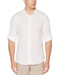 Perry Ellis - Slim-fit Solid Linen Roll-sleeve Woven Shirt - Lyst