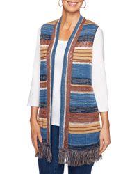 Ruby Rd. - Petite Size Stripe Fringe Hem Open Front Sweater Vest - Lyst