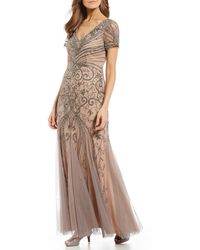 Adrianna Papell V-neck Beaded Short Sleeve Textured Skirt Sheath Gown - Natural