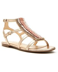 Katy Perry - The Alanna Feather Leather Detail Sandals - Lyst