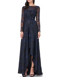 Carmen Marc Valvo Embroidered Mesh Boat Neck Hi-low Illusion Top Gown - Blue