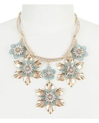Belle By Badgley Mischka | Metallic Patina Flower Statement Necklace | Lyst