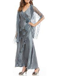 Komarov - Ruffle V-neck Sleeveless Maxi Dress - Lyst