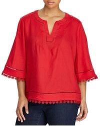 Lauren by Ralph Lauren - Plus Size Lace-trim Tissue Linen Top - Lyst