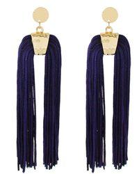 Panacea Navy Nylon U Tassel Earrings - Blue