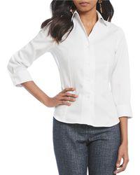 Jones New York - Non-iron 3/4 Sleeve Novelty Cuff Button Up Shirt - Lyst