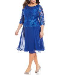 c95aa68be2 Lyst - Alex Evenings Plus Size Mock 2-piece Lace Jacket Dress in Blue
