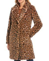 Gallery Faux Fur Leopard Print Long Coat - Brown