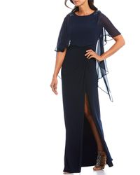 Adrianna Papell - Beaded Chiffon Capelet Gown - Lyst
