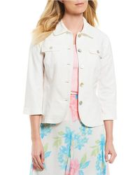 Ruby Rd | Petites 3/4 Sleeve Button Front Double Face Stretch Solid Jacket | Lyst