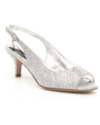 J. Reneé - Impuls Jeweled Peep-toe Slingback Kitten Pumps - Lyst
