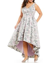 10e71cd442 Eliza J Floral Print Sleeveless Bow Tie Waist Full Skirt Organza Gown - Lyst