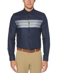 Perry Ellis - Slim-fit Color Block Stripe Long-sleeve Woven Shirt - Lyst