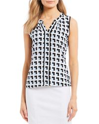Calvin Klein - Geometric Print Split V-neck Sleeveless Top - Lyst