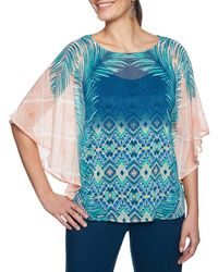 Ruby Rd. - Petite Size Polynesian Palm Placement Print Yoryu Butterfly Top - Lyst