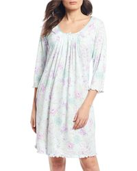 Miss Elaine Sofiknit Floral Printed Short Nightgown - Blue