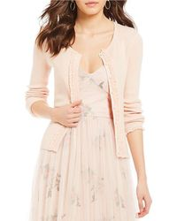 Chelsea & Violet - Button Front Ruffle Cardigan - Lyst