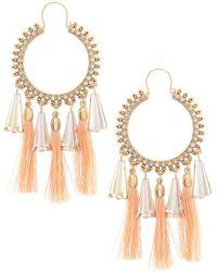 Belle By Badgley Mischka | Beaded Round Hoop Tassel Earrings | Lyst
