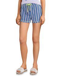 Psycho Bunny Striped-print Woven Sleep Shorts - Blue