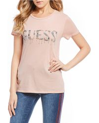 Guess - Short Sleeve Glitz Logo Tee - Lyst