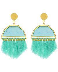 Panacea - Mint Stone Tassel Statement Earrings - Lyst