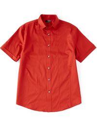 Murano - Liquid Luxury Solid Sateen Short-sleeve Woven Shirt - Lyst