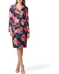 Tahari Floral Print Jacquard Peplum Jacket 2-piece Skirt Set - Multicolour