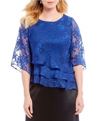 Alex Evenings - Lace 3/4 Illusion Sleeve Asymmetric Tiered Blouse - Lyst