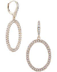 Lauren by Ralph Lauren - Crystal Pave Hoop Earrings - Lyst