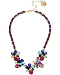 Betsey Johnson - Butterfly & Stone Cluster Frontal Necklace - Lyst