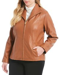 Cole Haan - Plus Size Genuine Lambskin Leather Fitted Jacket - Lyst