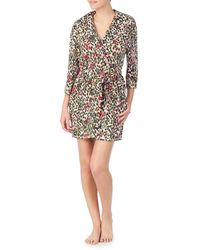 Betsey Johnson - Girly Camo Leopard Print Brushed French Terry Wrap Robe - Lyst