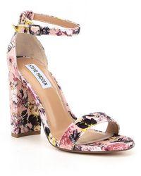 45efcdab354e Steve Madden - Carrson Floral Velvet Ankle Strap Block Heel Dress Sandals -  Lyst
