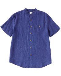Murano Solid Linen Mandarin Collar Short-sleeve Woven Shirt - Blue