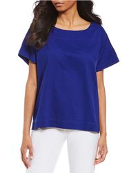 Eileen Fisher - Bateau Neck Short Sleeve Box-top - Lyst