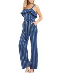 Antonio Melani - Ally Stripe Ruffle Flounce Tie Waist Linen Jumpsuit - Lyst