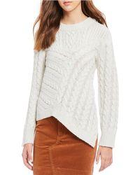 Chelsea & Violet - Asymmetrical Hem Cable Knit Sweater - Lyst