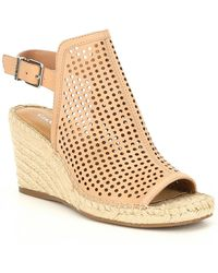 Gianni Bini Bryndell Perforated Leather Espadrille Wedges - Multicolor