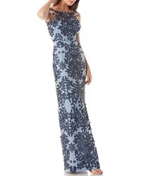 JS Collections - Embroidered Floral Mesh Gown - Lyst