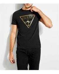 Guess - Short-sleeve Metallic Classic Logo T-shirt - Lyst