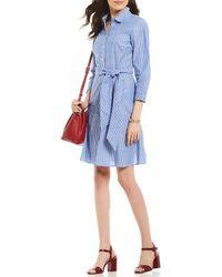 540bbd2509c05d Lyst - Tommy Hilfiger Blue Denim Size 6 Pleated Shirt Dress in Blue