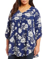 Bobeau - Plus Size Roll-tab Sleeve Floral Print Pleat Front V-neck Top - Lyst