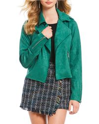 Skies Are Blue - Faux Suede Moto Jacket - Lyst
