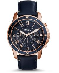 Fossil - Grant Sport Chronograph Blue Leather Watch - Lyst