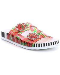 Betsey Johnson Misty Fruit Pattern Transparent Jeweled Buckle Slide Sandals cqwAsd0